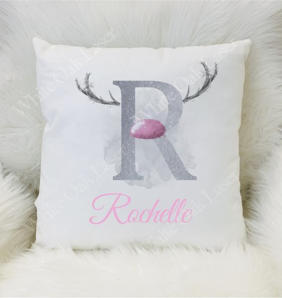 Pink and Silver Reindeer Alphabet Cushion
