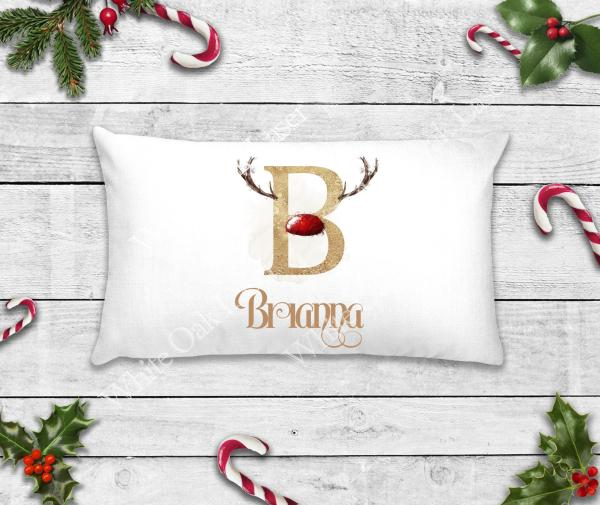 Red and Gold Reindeer Alphabet Pillowcase
