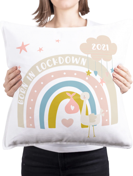 Born In Lockdown 2021 Cushion (Pink and Blue Options) 1