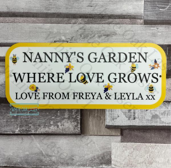 Nanny's Garden Where Love Grows Personalised Sign