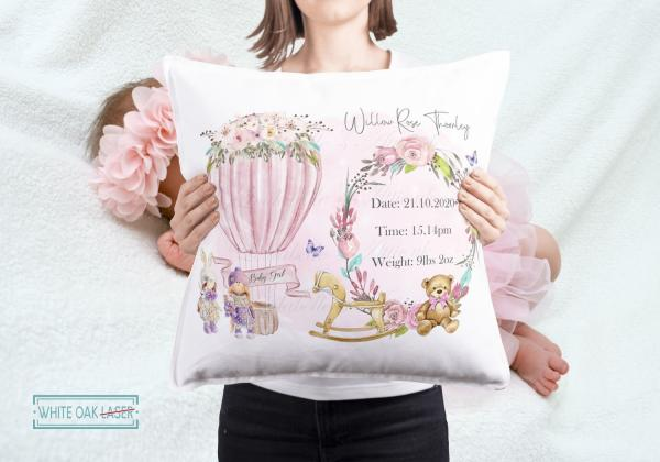 New Baby Girl Personalised Gift Cushion 1